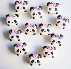 Panda macarons by - Laurensia Eveline Dous Dolce ( Panda Birthday Party, Panda Party, Macaron Cookies, Macaroons, Bolo Panda, Panda Cakes, Cute Baking, Kawaii Dessert, Macaroon Recipes