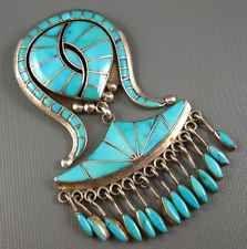 Elegant Vintage Zuni Ellen Quandelacey Sterling Turquoise 4 Inch Pendant/Pin 58G