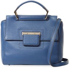 Furla Women's Artesia S Leather Satchel - Blue (1.275 BRL) ❤ liked on Polyvore featuring bags, handbags, blue, blue leather handbags, top handle satchel handbags, top handle leather handbags, genuine leather purse and satchel handbags
