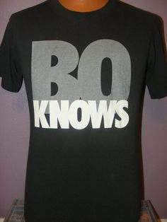 "Vtg 80s 90s T Shirt Nike Bo Knows Gray Tag Cotton M 39"" Chest   eBay"