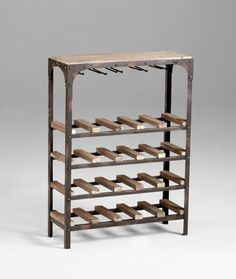 Gallatin Industrial Metal Rustic Wood Narrow Console Wine Rack by Kathy Kuo Designs. $418.00. Natural finish on wood. Shipped assembled. No assembly required. Rustic oxidized finish on metal. Metal will not tarnish or rust as finish is set into metal. Constructed from solid wood and iron. 34 inches high x 9.25 inches wide x 25 inches long. A perfect marriage of French Country and Industrial Loft styles is brought to life in the Galatin Wine Rack. Riveted corners, n...