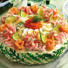 Smörgåstårta med skaldjurslyx