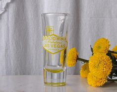 "Vintage Shot Glass ""Welcome To Fabulous Las Vegas"" Souvenir Circa The 1990s"