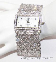 Victoria Wieck Rectangular Face Crystal Silver Bracelet Watch NEW HSN $39