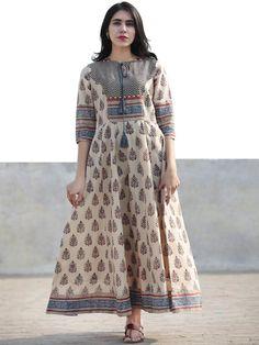 Naaz Beige Blue Maroon Black Hand Block Printed Long Cotton Dress with Tassels- Salwar Designs, Printed Kurti Designs, Kurti Neck Designs, Kurta Designs Women, Kurti Designs Party Wear, Stylish Dresses For Girls, Stylish Dress Designs, Designs For Dresses, Frock Design