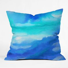Features:  -Material: Woven Polyester.  -Made in the USA.  -The pillow is not reversible.  Product Type: -Throw pillow.  Color: -Blue.  Style: -Modern.  Shape: -Square.  Cover Material: -Polyester/Pol