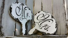 MR and MRS SIGNS, Paddle Signs, Signs with Handles, Rustic Wedding Signs, Shabby Chic Wedding Signs, Reversible, Hand Held Photo Props
