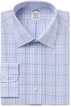Brooks Brothers Brooks Brother Men's Regent Classic-Fit Light Blue Plaid Dress Shirt