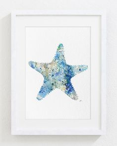 Watercolor Art - Starfish Painting - 5x7 Archival Print - Sea Art Print - Blue, Beige, Grey, Seafoam Green - Asteroidea, Sea Star Wall Decor by ElfShoppe on Etsy https://www.etsy.com/listing/182065002/watercolor-art-starfish-painting-5x7