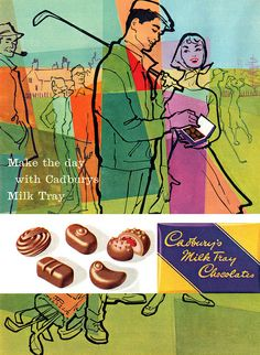 Make the day with Cadbury's Milk Tray. #vintage #1950s #food #ads