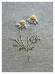 embroidery, flowers, chamomile