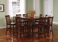 "9 PC Casual Walnut Wood Counter Dining Set 18"" Leaf Table Chairs"