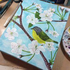 Nashville #warbler is done.  Time for a break before .@thestromboshow starts. #sundayinthestudio #art #birds #painting #wildlife #nature