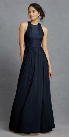 Modest Navy Blue Bridesmaid Dresses Mermaid Style Wedding Dress ...
