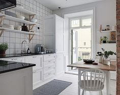 In many ways, ✌Pufikhomes - source of home inspiration Home Decor Kitchen, Kitchen Interior, Home Kitchens, Kitchen Dining, Modern Scandinavian Interior, Scandinavian Kitchen, Scandinavian Apartment, Small Apartments, Small Spaces