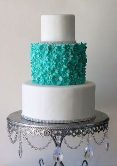 Pasteles de Bodas elegantes de color Tiffany Azul 7