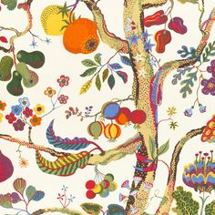 Vegetable Tree is a variation of the Tree of Life theme that Josef Frank often used. With tongue-in-cheek he transformed it into a vegetable tree. Textiles, Textile Patterns, Textile Design, Print Patterns, Fabric Design, Josef Frank, Textile Museum, Home Textile, Teheran