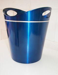 Vintage retro MID-CENTURY ANODISED blue ice bucket 1960s aluminium, holds wine Vintage Tins, Retro Vintage, Food Containers, Silver Enamel, Kitchenware, Ice Buckets, 1960s, Mid Century, Decor Ideas
