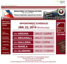 DFA Passport Appointment schedule update: January 22, 2014  #Citizenservices #DFAPassportappointment #Wednesday