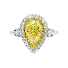 1.52 Ct Fancy Yellow Diamond Ring 18k White Gold For Sale at 1stDibs Yellow Sapphire Rings, Yellow Gold Rings, White Gold, 2 Carat Ring, Pear Cut Engagement Rings, Fashion Rings, Fancy, Rare Gemstones, White Diamonds