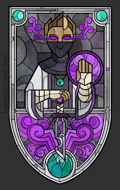 luvianblue:   -I will be there when The End comes- Magic, Justice, Vengeance, Secrets, Redemption, New Beginnings  Ohey, it's a Rythian in stained glass.  He's a saint or a guardian or a god or something I guess. Finally did a proper border.  Also changed some things.  Rythian still doesn't have a halo, but now he has smoke coming from his eyes.
