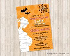 Baby Shower Fall, Fall Baby, Halloween Invitations, Babies R Us, Custom Invitations, White Envelopes, Color Show, Card Stock, Custom Design