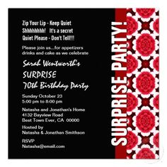SURPRISE 70th Birthday Modern Red Black Flowers Custom Invitations (50qty. $1.46 per invite)