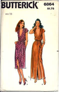 Butterick 6636…Misses' Dress Pattern in Bust 38. Pattern is cut and all the pieces & instructions are there. Original seamstress made View A…shorter dress, but the extensions are there so that the full length dress may be made. The envelope is in very good condition. No copyright date but guides date this as 1981/82. Very loose-fitting wrapped dress seven inches (18 cm) below mid-knee and evening length has front shawl collar, extended shoulders, side seam pockets and self tie belt.