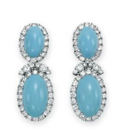 A PAIR OF TURQUOISE AND DIAMOND EAR PENDANTS, BY DAVID WEBB