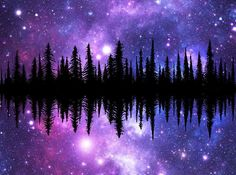I like the universe image as the background, but instead of trees, the Mandelbrot Fractal in the foreground.