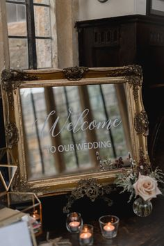 Mirrored Wedding Welcome Sign | By Lyra and Moth | Country House Wedding | Grey Bridesmaid Dresses | Blush Wedding Bouquet | Burgundy Wedding Flowers | Wedding Sign | Wedding Decor Burgundy Wedding Flowers, Wedding Grey, Rustic Wedding Signs, Wedding Welcome Signs, Wedding Signage, Diy Wedding, Dark Grey Bridesmaid Dresses, Grey Bridesmaids, Wedding Gifts For Bridesmaids