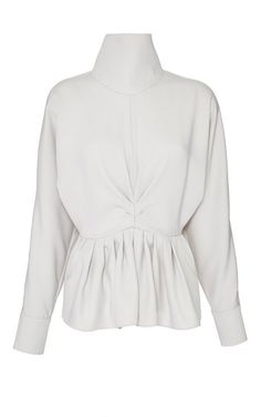 Satin Crepe High Neck Ruched Blouse by J.W. Anderson for Preorder on Moda Operandi