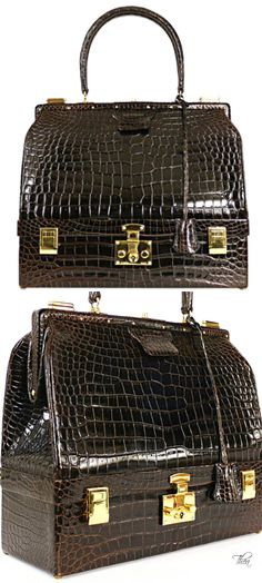Vintage Hermes ● Shiny Crocodile Porosus Sac  Trunk Case 1978