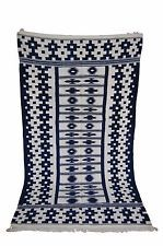 Handwoven Cotton Dhurrie Rug,INDIGO with geometrical bricks all-over, 4'X7'    $175.00