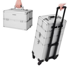 Songmics 4 In 1 Mallette Maquillage Valise Cadre En Aluminium Boite A Outils Beauty Case Trolley Coiffure Nail Cosmetic Jhz01s Mallette Maquillage Valise Valise Maquillage