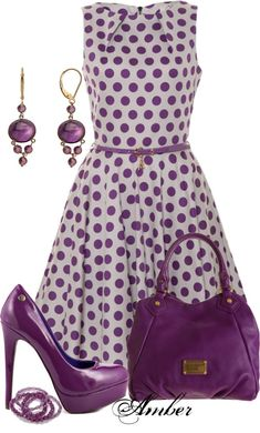 Purple polka dotted dress with purple pumps, purple purse, and purple drop earrings ... love that purple  ...