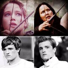 Katniss Everdeen (Jennifer Lawrence) and Peeta Mellark (Josh Hutcherson) character development. Hunger Games Cast, Hunger Games Movies, Hunger Games Fandom, Hunger Games Catching Fire, Hunger Games Trilogy, Katniss Everdeen, Katniss And Peeta, Suzanne Collins, Saga