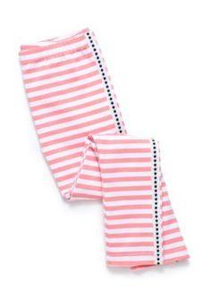 J. Khaki Posh Coral Stripe Leggings Girls 4-6X