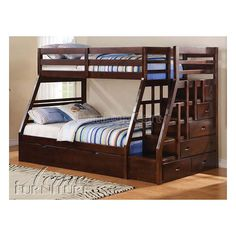 Shop bunk beds with stairs with under bed trundle or storage drawers. Affordable stairway bunk beds in twin and full in black, white, navy blue, walnut. Twin Full Bunk Bed, Full Size Bunk Beds, Double Bunk Beds, Bunk Bed Plans, Bunk Beds With Storage, Bunk Bed With Trundle, Modern Bunk Beds, Bed Storage, Storage Drawers
