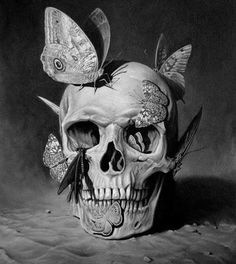 Skull - graphite. This is so beautiful and amazing. I want this as a tattoo! <3