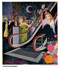Escal-Aire OTIS Elevator Company ad detail. http://www.ebay.com/itm/1963-Otis-Elevator-Escal-Aire-Escalator-Print-ad-/301574881057