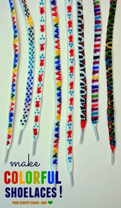 DIY Colorful Shoelaces - Great for shnazzing up shoes, or a great gift for kids to make for others - using sharpies