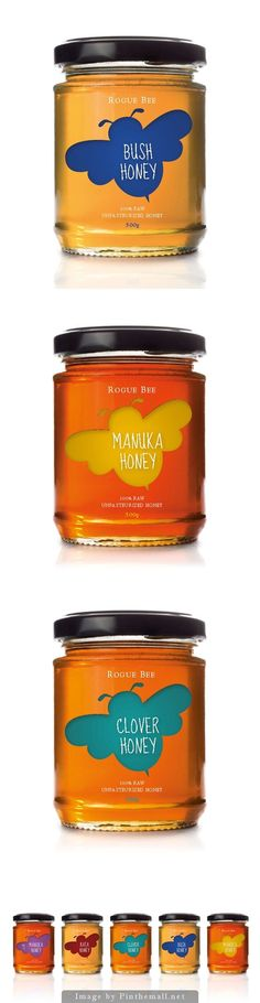 What i like about this label for honey is the single graphic of the honeybee with very little else around it, which by the looks of it was probably printed onto acetate and pasted around the width of the jar.: