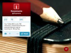50 Twitter Tips (17). Full presentation: https://www.slideshare.net/Socjomania/the-ultimate-guide-to-twitter-50-useful-tips  #Twitter #TwitterTips #SocialMedia #SocialMediaTips