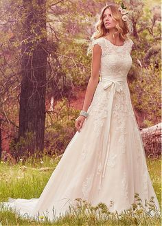 Modest Tulle & Satin Scoop Neckline A-Line Wedding Dresses With Lace Appliques
