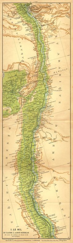 Antique Map River Nile from Cairo to Abu Kerkas Egypt
