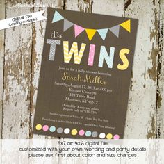 twins baby shower invitations for twins with por katiedidesigns, $13.00
