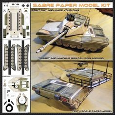 Sabre Main Battle Tank paper model from Spyker Enterprise, make sure to send some pics to Spyker once you've assembled the Sabre to get s.