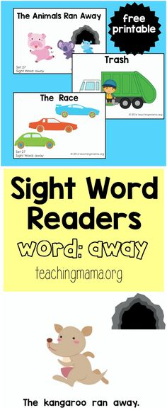 "Sight Word Reader for the Word ""Away"" - Teaching Mama Sight Word Spelling, Preschool Sight Words, Sight Word Readers, Teaching Sight Words, Sight Words List, Dolch Sight Words, Sight Word Activities, Kindergarten Reading Activities, Preschool Books"