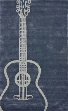Rock out with this cool navy and gray guitar rug!